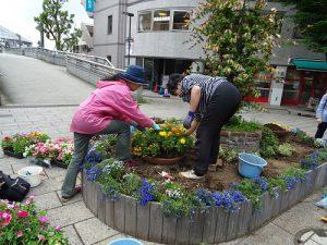 シンボル花壇の植え付け開始
