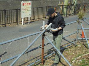 錆びた単管パイプに塗装のテスト