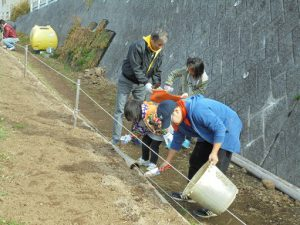 不動尊口園路際には菜の花の種を播いたあとは土をかけました