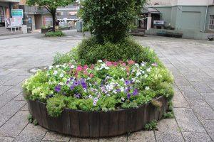 商店街中央の花壇