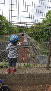 牛久保西公園のブルーラインを真上から見下ろせるスポット!やさしい運転士さんがプップッと警笛を鳴らしてくれることもあります^o^